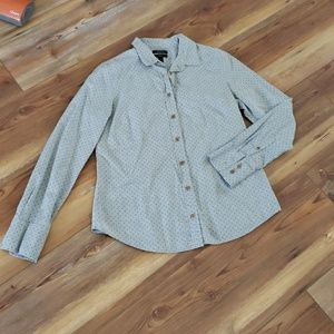 J crew perfect shirt in grey with blue polka dots